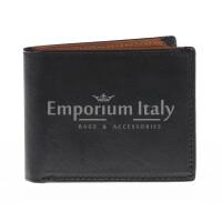 Portafoglio da uomo in vera pelle CAMBOGIA, colore NERO/MARRONE, EMPORIO TITANO, MADE IN ITALY