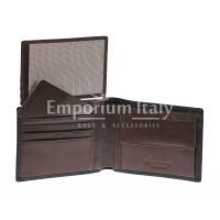Portafoglio da uomo in vera pelle CILE, colore NERO/MARRONE, EMPORIO TITANO, MADE IN ITALY