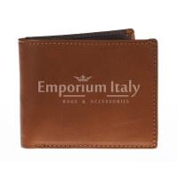 Portafoglio da uomo in vera pelle CILE, colore MIELE/TESTA MORO, EMPORIO TITANO, MADE IN ITALY