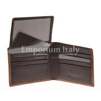 Portafoglio da uomo in vera pelle CAMBOGIA, colore TESTA MORO/MIELE, EMPORIO TITANO, MADE IN ITALY