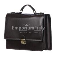 Borsa ufficio da uomo in vera pelle GABRIELE, colore TESTA DI MORO, MAESTRI, MADE IN ITALY