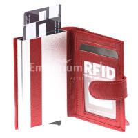 Portafoglio in vera pelle e porta carte di credito in alluminio da uomo BIRMANIA, con BLOCCO RFID, colore ROSSO, EMPORIO TITANO