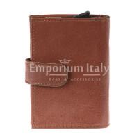 Portafoglio in vera pelle e porta carte di credito in alluminio da uomo BIRMANIA, con BLOCCO RFID, colore MARRONE, EMPORIO TITANO.