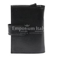 Portafoglio in vera pelle e porta carte di credito in alluminio da uomo BIRMANIA, con BLOCCO RFID, colore NERO, EMPORIO TITANO