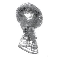Foulard primaverile da donna PESCA, design floreale, colore GRIGIO, EMPORIUM ITALY