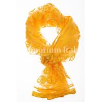 Foulard primaverile da donna PESCA, design floreale, colore GIALLO, EMPORIUM ITALY