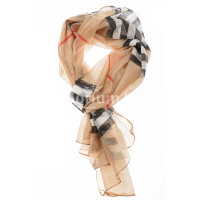 Spring scarf for woman MELA,  checkered design, BEIGE/MULTICOLOUR colour, EMPORIUM ITALY