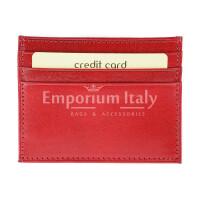 Porta tessere - carte di credito uomo / donna in vera pelle tradizionale SANTINI mod BELGIO, colore ROSSO, Made in Italy.