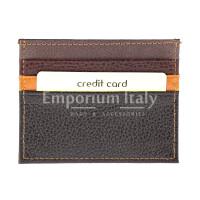 Porta tessere - carte di credito uomo / donna in vera pelle tradizionale SANTINI mod BELGIO, colore MULTICOLOR/MARRONE/ARANCIONE/NERO, Made in Italy.