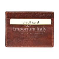 Porta tessere - carte di credito uomo / donna in vera pelle tradizionale SANTINI mod BELGIO, colore MARRONE, Made in Italy.