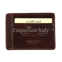 Portatessere - Carte di Credito unisex in vera pelle HONG KONG, colore TESTA MORO, EMPORIO TITANO, MADE IN ITALY