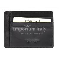 Portatessere - Carte di Credito unisex in vera pelle HONG KONG, colore NERO, EMPORIO TITANO, MADE IN ITALY