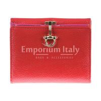 Portafoglio in vera pelle da donna MIMOSA, colore ROSSO, SANTINI, MADE IN ITALY