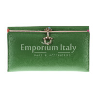 Genuine leather wallet for woman MIMOSA MAXI, GREEN colour, SANTINI, MADE IN ITALY