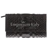 Portafoglio da donna in vera pelle di pitone PERVINCA, certificato CITES, colore TESTA MORO, SANTINI, MADE IN ITALY
