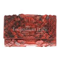 Portafoglio da donna in vera pelle di pitone PERVINCA, certificato CITES, colore ROSSO SELVAGGIO, SANTINI, MADE IN ITALY