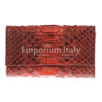 Portafoglio da donna in vera pelle di pitone PERVINCA, certificato CITES, colore ROSSO, SANTINI, MADE IN ITALY
