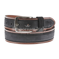 Cintura uomo in vera pelle MONTECCHIO, colore NERO/TESTA MORO, RINO DOLFI, Made in Italy