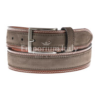 Cintura uomo in vera pelle MONTECCHIO, colore TESTA MORO, RINO DOLFI, Made in Italy