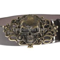 Cintura in vera pelle da uomo OREGON, colore TESTA MORO, fibbia a forma di TESCHIO color BRONZO, EMPORIO TITANO, MADE IN ITALY