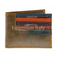 Genuine nubuck leather wallet for man CAMBRIDGE, HONEY colour, BLUE inside, HARVEY MILLER - POLO CLUB, MADE IN ITALY