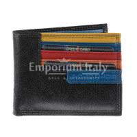 Genuine nubuck leather wallet for man CAMBRIDGE, BLACK colour, BLUE inside, HARVEY MILLER - POLO CLUB, MADE IN ITALY