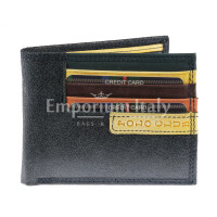 Genuine nubuck leather wallet for man CAMBRIDGE, BLACK  colour, YELLOW inside, HARVEY MILLER - POLO CLUB, MADE IN ITALY