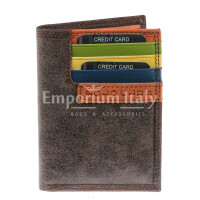 Genuine nubuck leather wallet for woman BOLOGNA, DARK BROWN colour, ORANGE inside, HARVEY MILLER - POLO CLUB, MADE IN ITALY