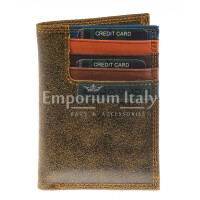 Genuine nubuck leather wallet for woman BOLOGNA, HONEY colour, BLU inside, HARVEY MILLER - POLO CLUB, MADE IN ITALY