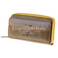 Portafoglio in vera pelle nabuk da donna PANSY, colore MIELE/GIALLO, HARVEY MILLER - POLO CLUB, MADE IN ITALY