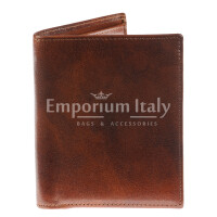 Genuine leather wallet for man VARSAVIA, BROWN colour, RINO DOLFI, MADE IN ITALY
