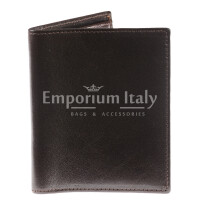 Genuine leather wallet for man VARSAVIA, DARK BROWN colour, RINO DOLFI, MADE IN ITALY