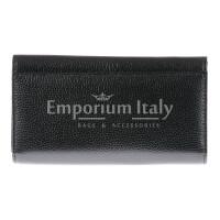 Portafoglio donna in vera pelle ORCHIDEA, colore NERO, SANTINI, MADE IN ITALY