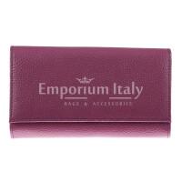 Portafoglio donna in vera pelle ORCHIDEA, colore VIOLA, SANTINI, MADE IN ITALY