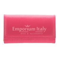 Portafoglio donna in vera pelle ORCHIDEA, colore FUCSIA, interno BLU, SANTINI, MADE IN ITALY