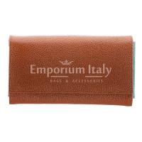 Portafoglio donna in vera pelle ORCHIDEA, colore MARRONE, interno ARANCIO, SANTINI, MADE IN ITALY