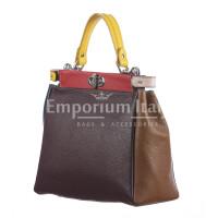 Borsa a mano da donna in vera pelle ATENA, colore GRIGIO/TESTA MORO, CHIARO SCURO, MADE IN ITALY