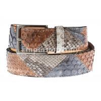 Cintura uomo TRIPOLI C39,vera pelle pitone certificato CITES, BLU/MIELE/ROCCIA, Rino Dolfi, Made in Italy
