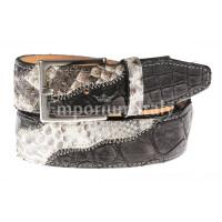 LAGOS: cintura uomo in pitone, certificato CITES, colore: ROCCIA/ NERO, Made in Italy