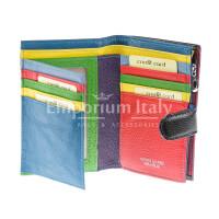 Portafoglio donna in vera pelle tradizionale SANTINI mod NINFEA colore NERO Made in Italy.