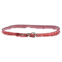 Cintura donna in vera pelle coccodrillo ELIO ZAGATO mod. RABAT colore ROSSO, certificato CITES ,  Made in Italy