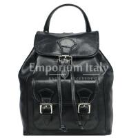 Borsa zaino donna MONTE DOSSO ALTO, in vera pelle tamponata, colore NERO, MAESTRI, Made in Italy.