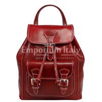 Borsa zaino donna MONTE DOSSO ALTO, in vera pelle tamponata, colore ROSSO, MAESTRI, Made in Italy.