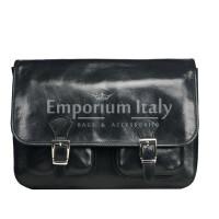 Tracolla da uomo, in cuoio, mod RUDOLF colore : NERO, Made in Italy.