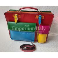 ELVI XXL Красная основа: Офисный / рабочий портфель из натуральной кожи MAESTRI, Сделано в Италии, подходит для 15-дюймового ноутбука, больших брошюр, папок и листов формата А3.