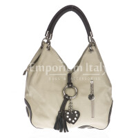 Borsa donna in vera pelle DELIA REI mod. BONELLA small colore BEIGE Made in Italy