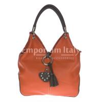 Borsa donna in vera pelle DELIA REI mod. BONELLA small colore ARANCIO Made in Italy
