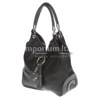 Borsa donna in vera pelle DELIA REI mod. BONELLA small colore NERO Made in Italy