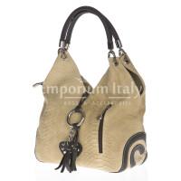 Borsa donna in vera pelle DELIA REI mod. BONELLA big colore PANNA Made in Italy.