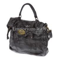 Borsa donna in vera pelle CHIARO SCURO mod. ANDREA mini colore NERO Made in Italy